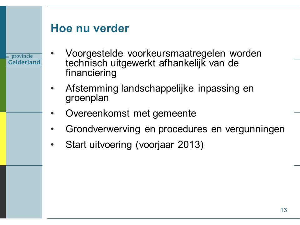 Hoe nu verder 13 Voorgestelde voorkeursmaatregelen worden technisch uitgewerkt afhankelijk van de financiering Afstemming landschappelijke inpassing e