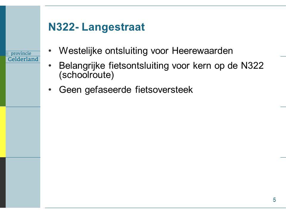 N322- Langestraat 5 Westelijke ontsluiting voor Heerewaarden Belangrijke fietsontsluiting voor kern op de N322 (schoolroute) Geen gefaseerde fietsoversteek
