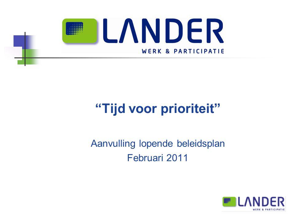 Tijd voor prioriteit Aanvulling lopende beleidsplan Februari 2011
