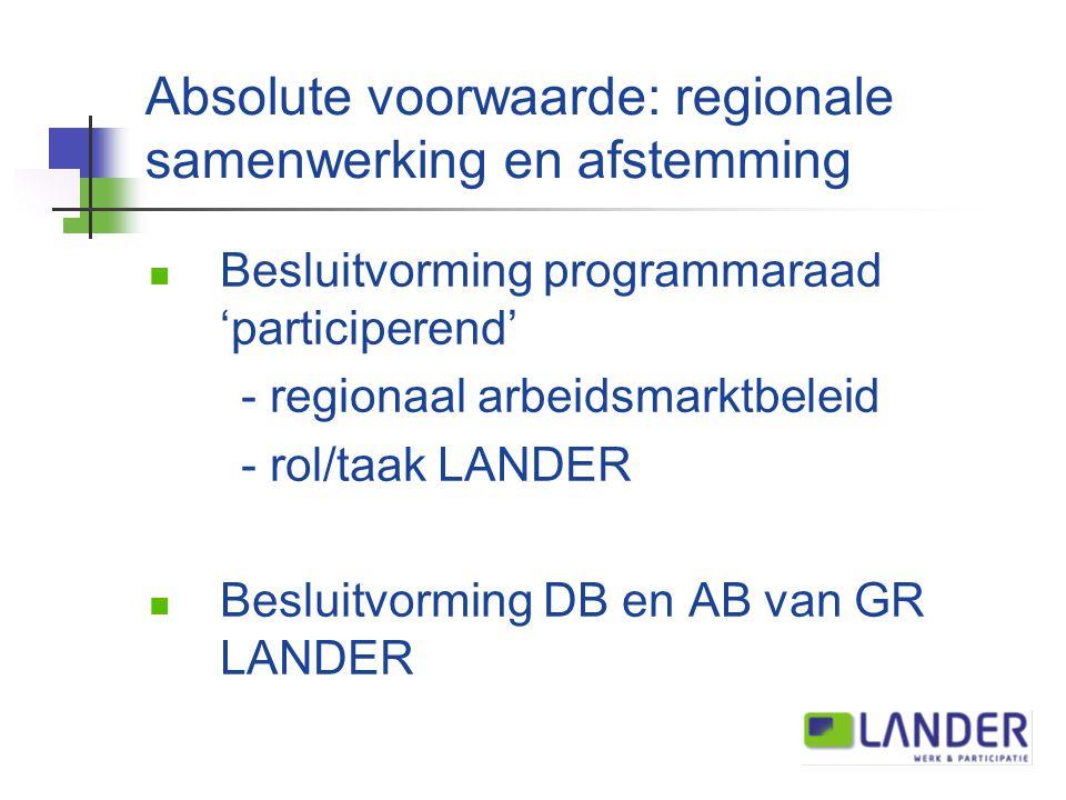 Absolute voorwaarde: regionale samenwerking en afstemming Besluitvorming programmaraad 'participerend' - regionaal arbeidsmarktbeleid - rol/taak LANDER Besluitvorming DB en AB van GR LANDER