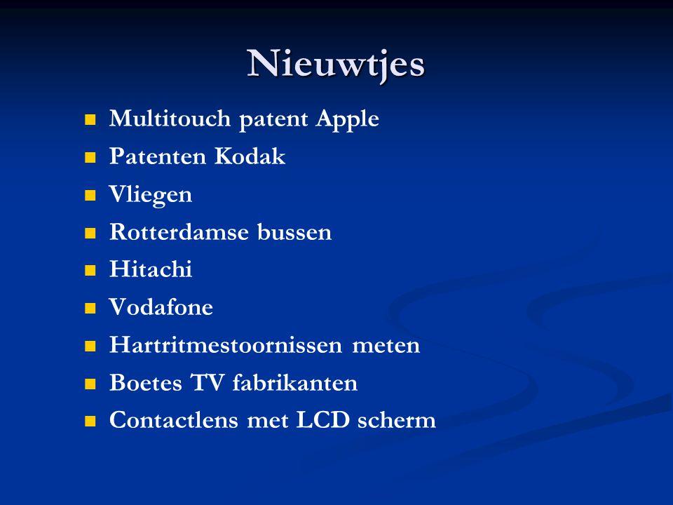 Nieuwtjes Multitouch patent Apple Patenten Kodak Vliegen Rotterdamse bussen Hitachi Vodafone Hartritmestoornissen meten Boetes TV fabrikanten Contactlens met LCD scherm