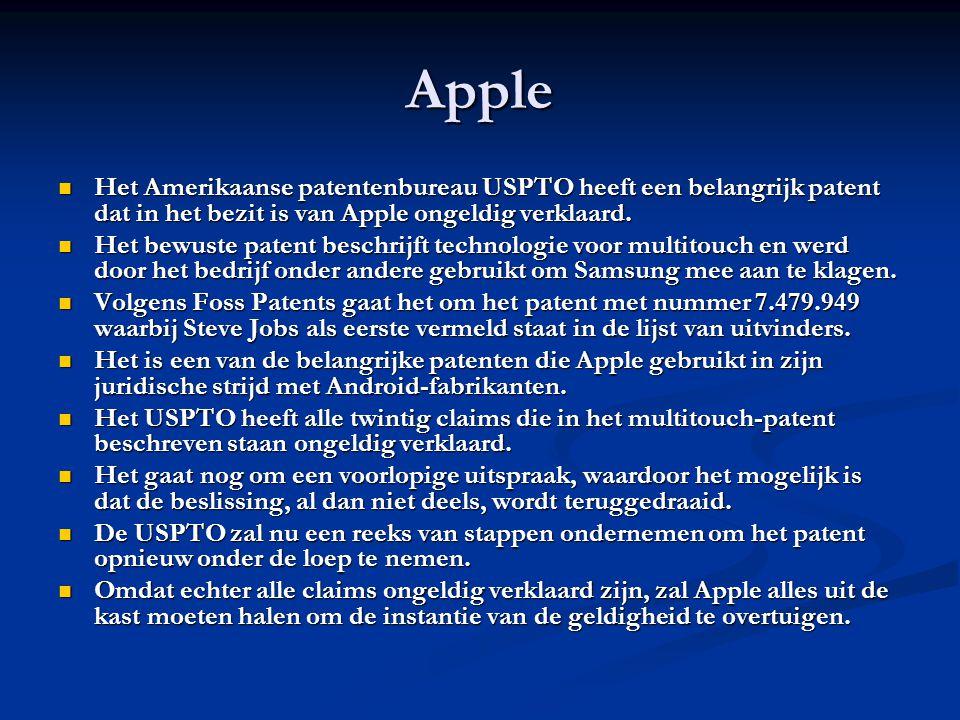 Apple Het Amerikaanse patentenbureau USPTO heeft een belangrijk patent dat in het bezit is van Apple ongeldig verklaard.