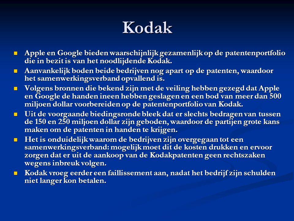 Kodak Apple en Google bieden waarschijnlijk gezamenlijk op de patentenportfolio die in bezit is van het noodlijdende Kodak.