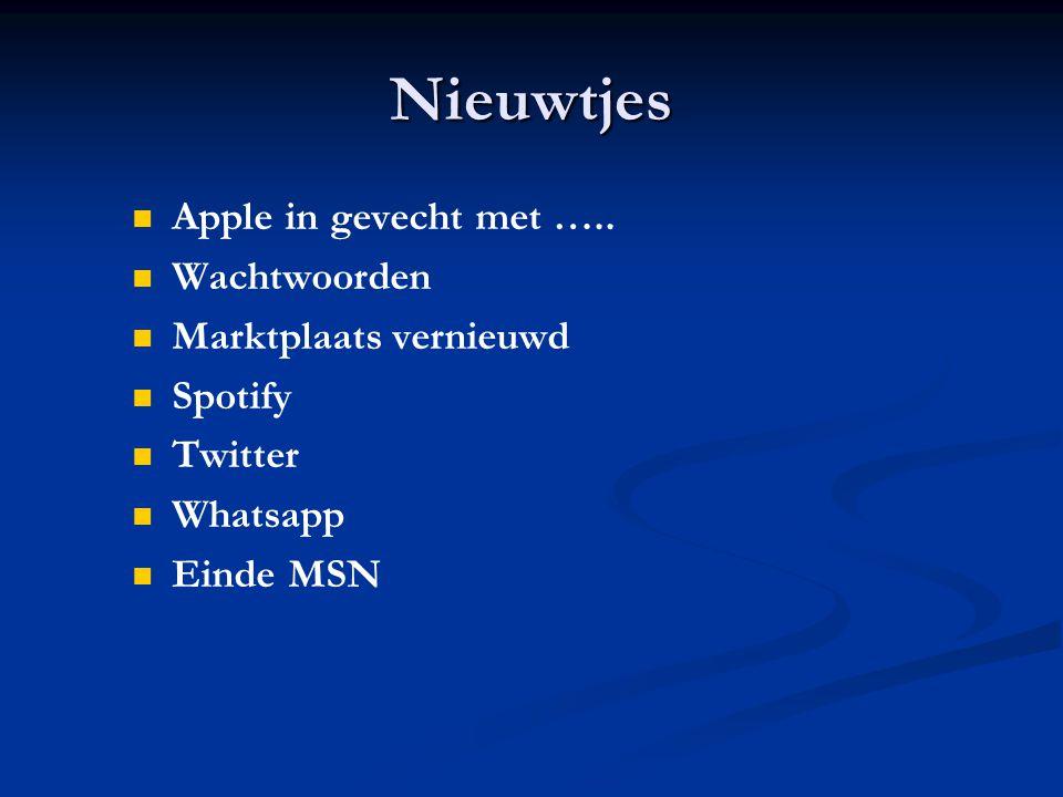Nieuwtjes Apple in gevecht met …..