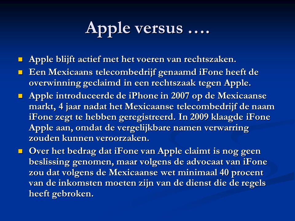 Apple versus …. Apple blijft actief met het voeren van rechtszaken.