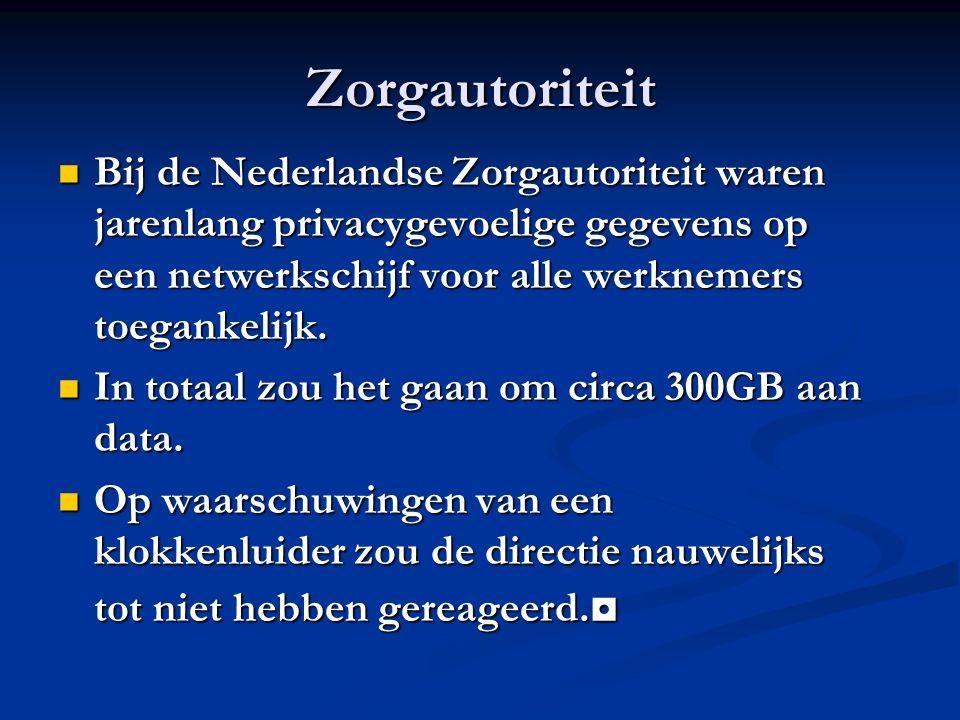 Zorgautoriteit Bij de Nederlandse Zorgautoriteit waren jarenlang privacygevoelige gegevens op een netwerkschijf voor alle werknemers toegankelijk. Bij