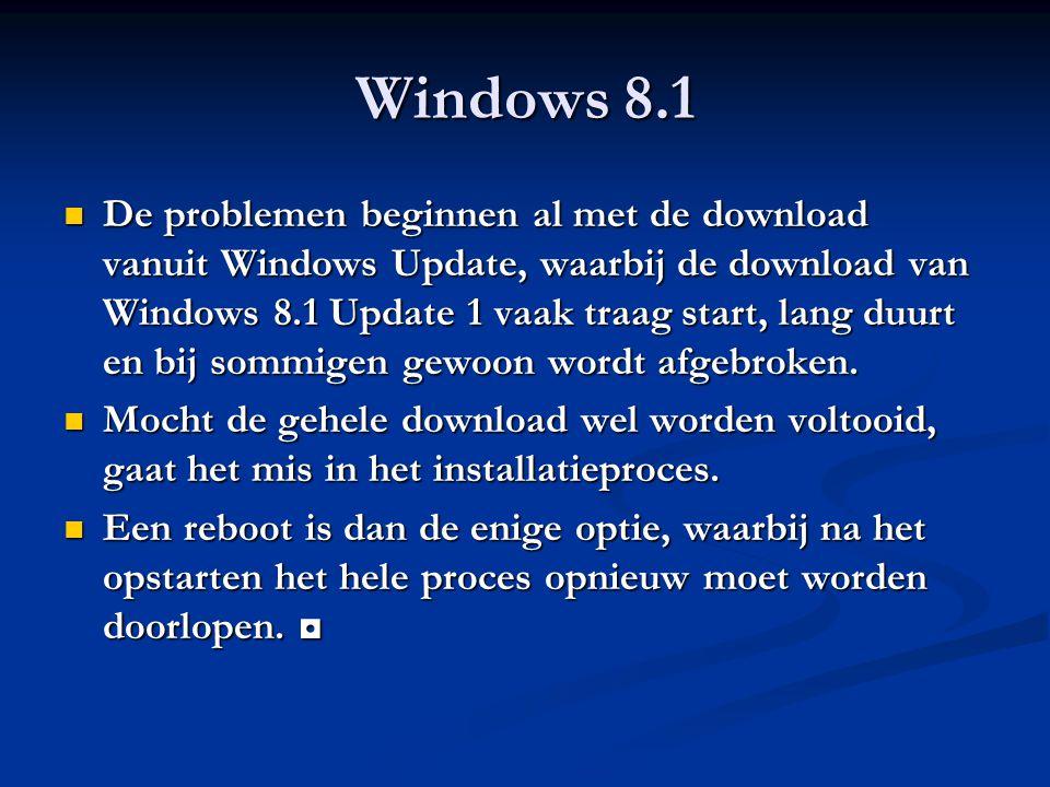 Windows 8.1 De problemen beginnen al met de download vanuit Windows Update, waarbij de download van Windows 8.1 Update 1 vaak traag start, lang duurt