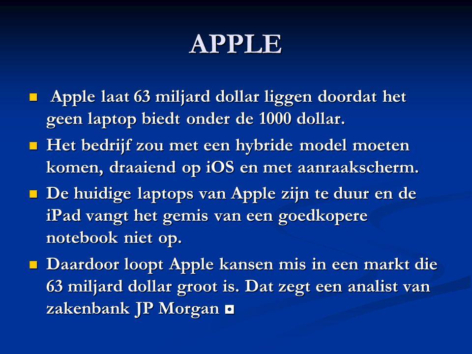 APPLE Apple laat 63 miljard dollar liggen doordat het geen laptop biedt onder de 1000 dollar. Apple laat 63 miljard dollar liggen doordat het geen lap