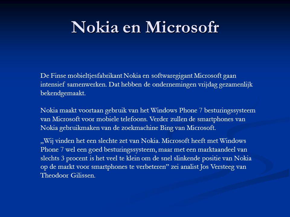 Nokia en Microsofr De Finse mobieltjesfabrikant Nokia en softwaregigant Microsoft gaan intensief samenwerken.