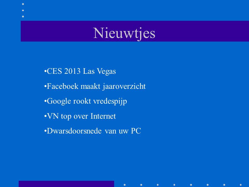 Nieuwtjes CES 2013 Las Vegas Faceboek maakt jaaroverzicht Google rookt vredespijp VN top over Internet Dwarsdoorsnede van uw PC