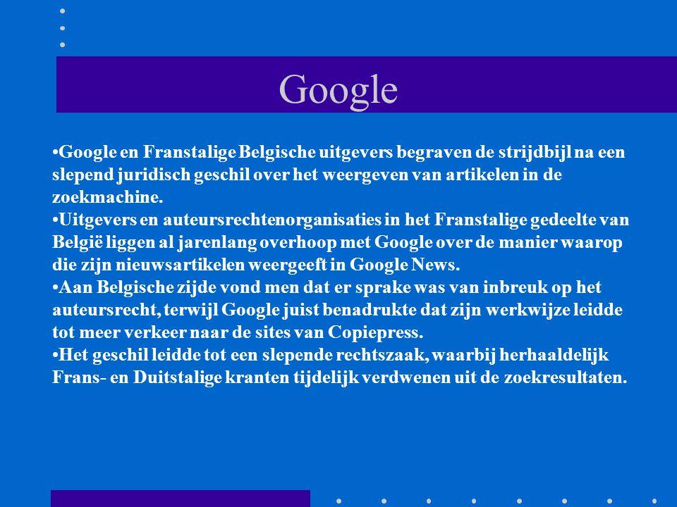 Google Google en Franstalige Belgische uitgevers begraven de strijdbijl na een slepend juridisch geschil over het weergeven van artikelen in de zoekmachine.
