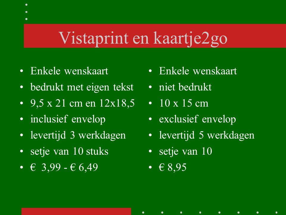 Vistaprint en kaartje2go Enkele wenskaart bedrukt met eigen tekst 9,5 x 21 cm en 12x18,5 inclusief envelop levertijd 3 werkdagen setje van 10 stuks €