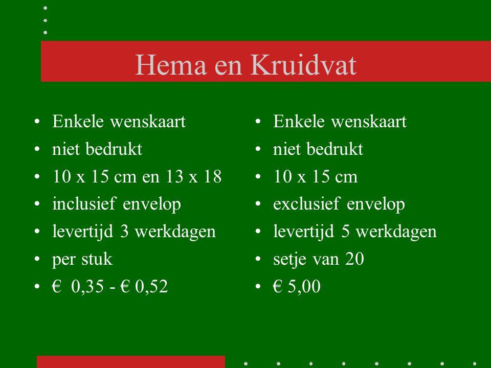 Hema en Kruidvat Enkele wenskaart niet bedrukt 10 x 15 cm en 13 x 18 inclusief envelop levertijd 3 werkdagen per stuk € 0,35 - € 0,52 Enkele wenskaart