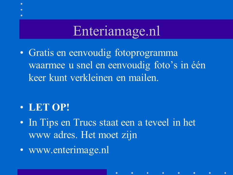 Enteriamage.nl Gratis en eenvoudig fotoprogramma waarmee u snel en eenvoudig foto's in één keer kunt verkleinen en mailen.