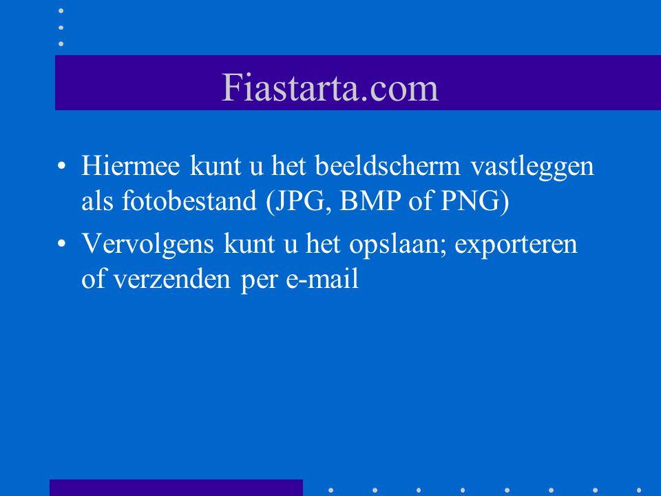 Fiastarta.com Hiermee kunt u het beeldscherm vastleggen als fotobestand (JPG, BMP of PNG) Vervolgens kunt u het opslaan; exporteren of verzenden per e-mail