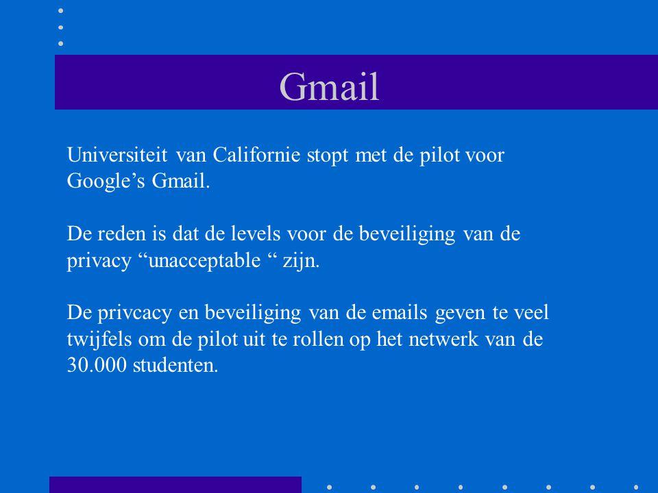 Gmail Universiteit van Californie stopt met de pilot voor Google's Gmail.
