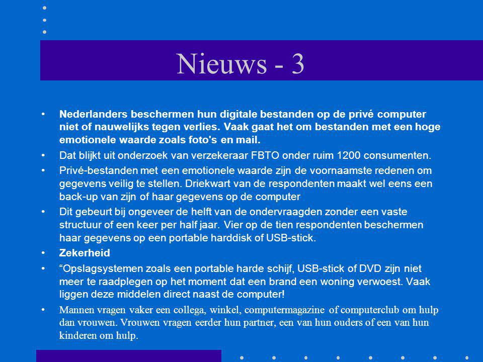 Nieuws - 3 Nederlanders beschermen hun digitale bestanden op de privé computer niet of nauwelijks tegen verlies.