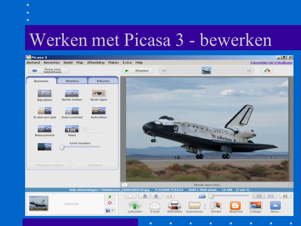 Werken met Picasa 3 - bewerken