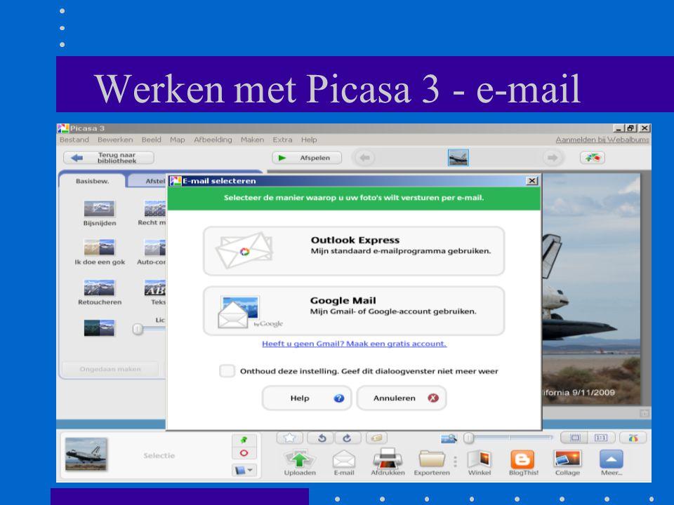 Werken met Picasa 3 - e-mail