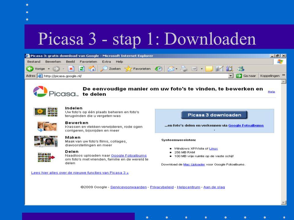 Picasa 3 - stap 1: Downloaden
