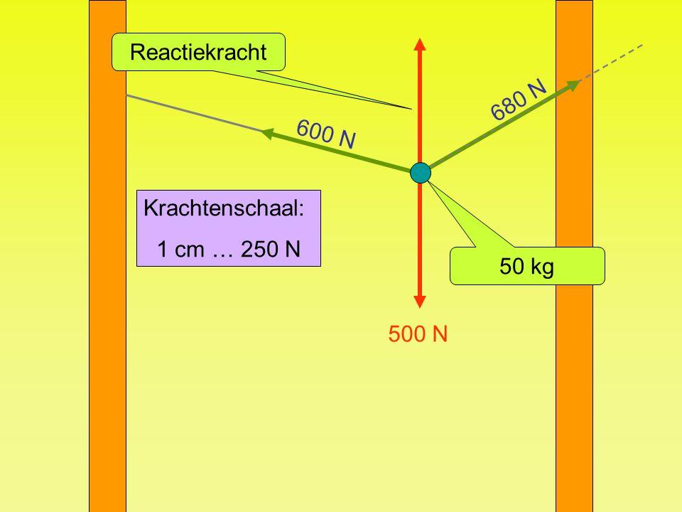 500 N Reactiekracht 50 kg 600 N 680 N Krachtenschaal: 1 cm … 250 N