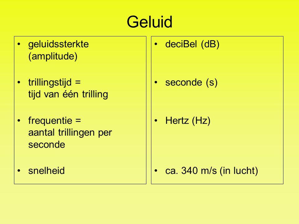 Geluid geluidssterkte (amplitude) trillingstijd = tijd van één trilling frequentie = aantal trillingen per seconde snelheid deciBel (dB) seconde (s) H