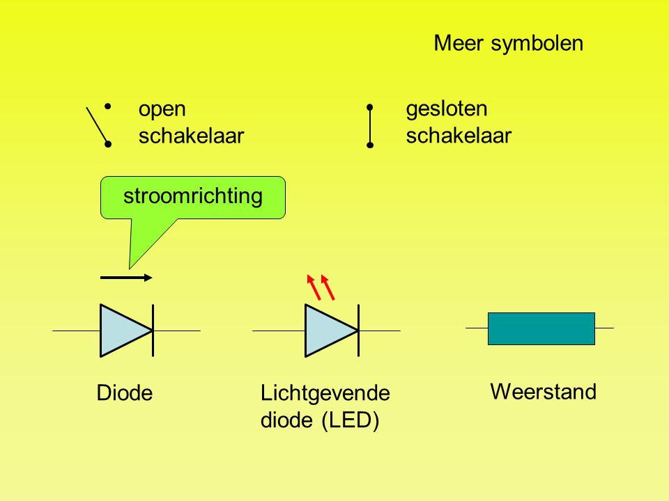 open schakelaar Meer symbolen gesloten schakelaar Lichtgevende diode (LED) Diode stroomrichting Weerstand