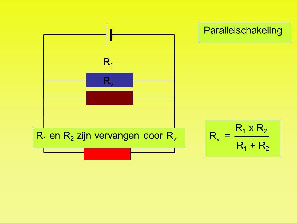 Parallelschakeling R1R1 R2R2 RvRv R 1 en R 2 zijn vervangen door R v R 1 x R 2 R 1 + R 2 R v =