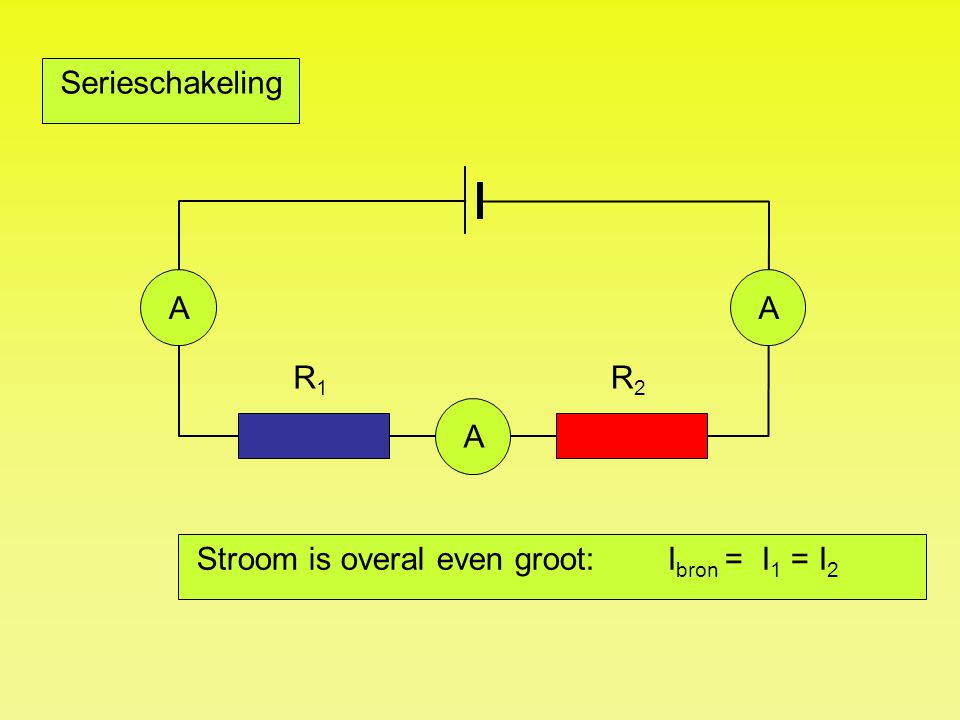 R1R1 R2R2 24 V Serieschakeling VVV 18 V 6 V U bron = U 1 + U 2