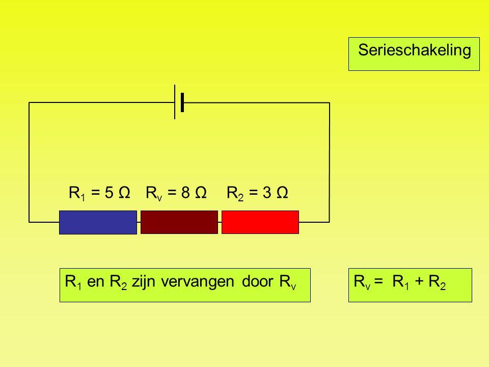 R 1 = 5 Ω Serieschakeling R v = R 1 + R 2 R 2 = 3 ΩR v = 8 Ω R 1 en R 2 zijn vervangen door R v