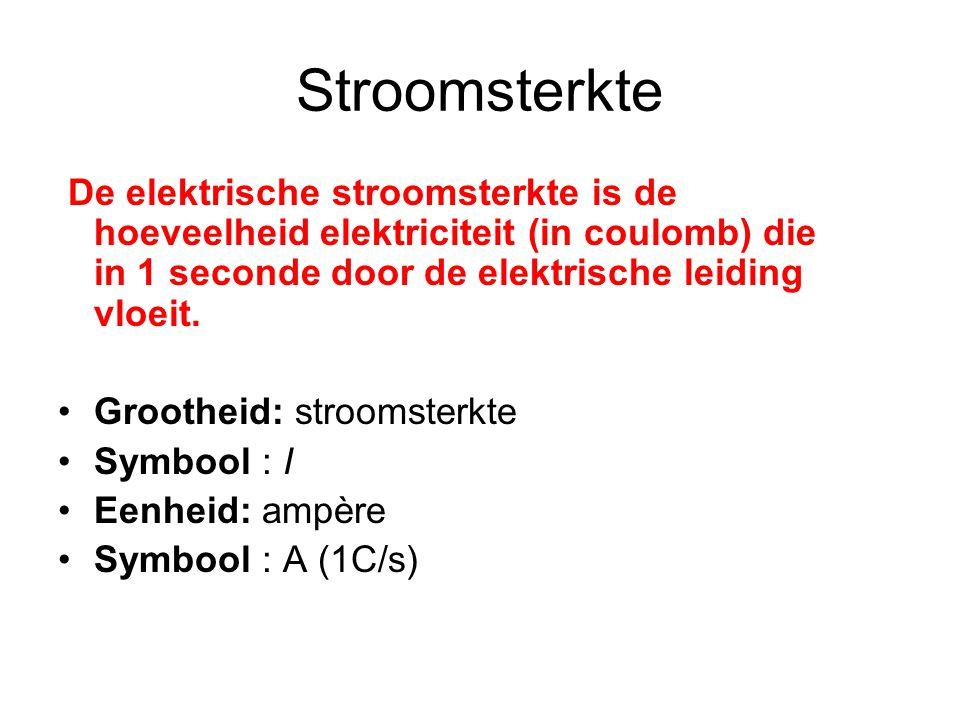 Stroomsterkte De elektrische stroomsterkte is de hoeveelheid elektriciteit (in coulomb) die in 1 seconde door de elektrische leiding vloeit.