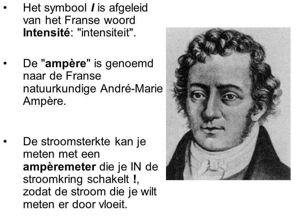 Het symbool I is afgeleid van het Franse woord Intensité: intensiteit .