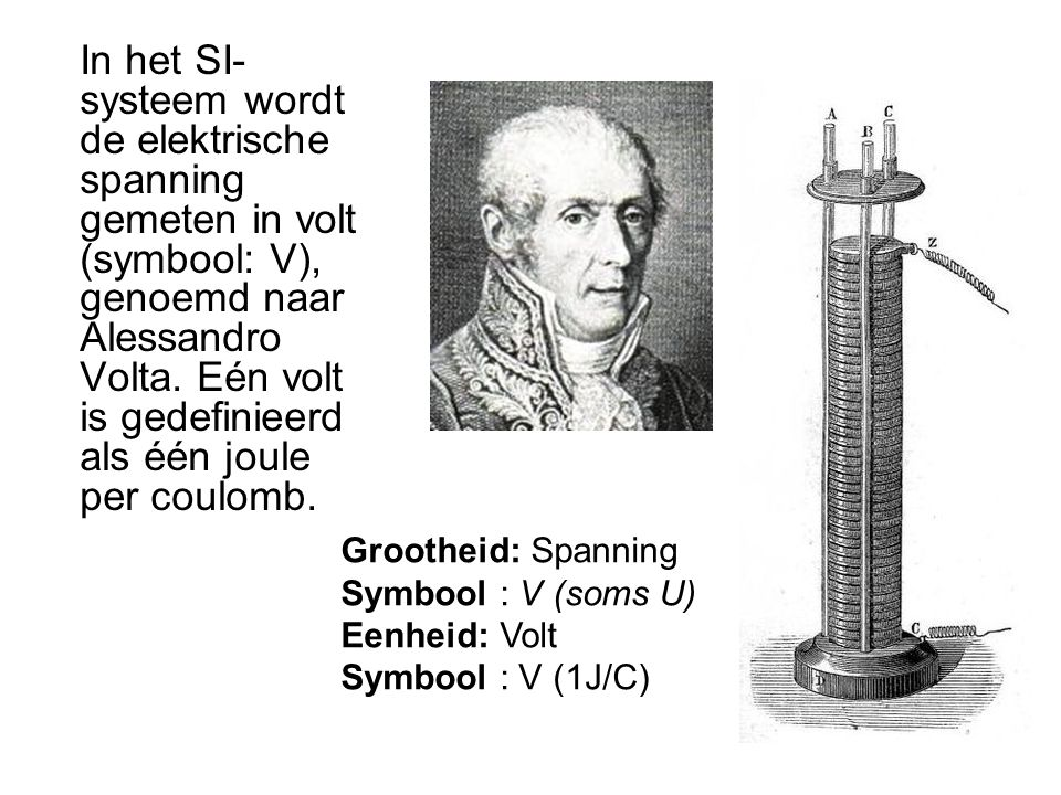 In het SI- systeem wordt de elektrische spanning gemeten in volt (symbool: V), genoemd naar Alessandro Volta.