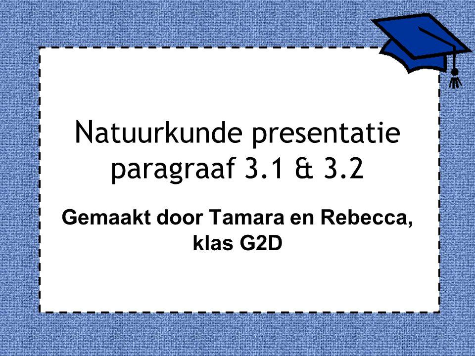 N atuurkunde presentatie paragraaf 3.1 & 3.2 Gemaakt door Tamara en Rebecca, klas G2D