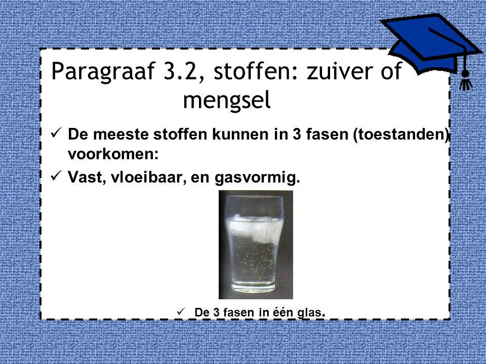 Paragraaf 3.2, stoffen: zuiver of mengsel De meeste stoffen kunnen in 3 fasen (toestanden) voorkomen: Vast, vloeibaar, en gasvormig. De 3 fasen in één