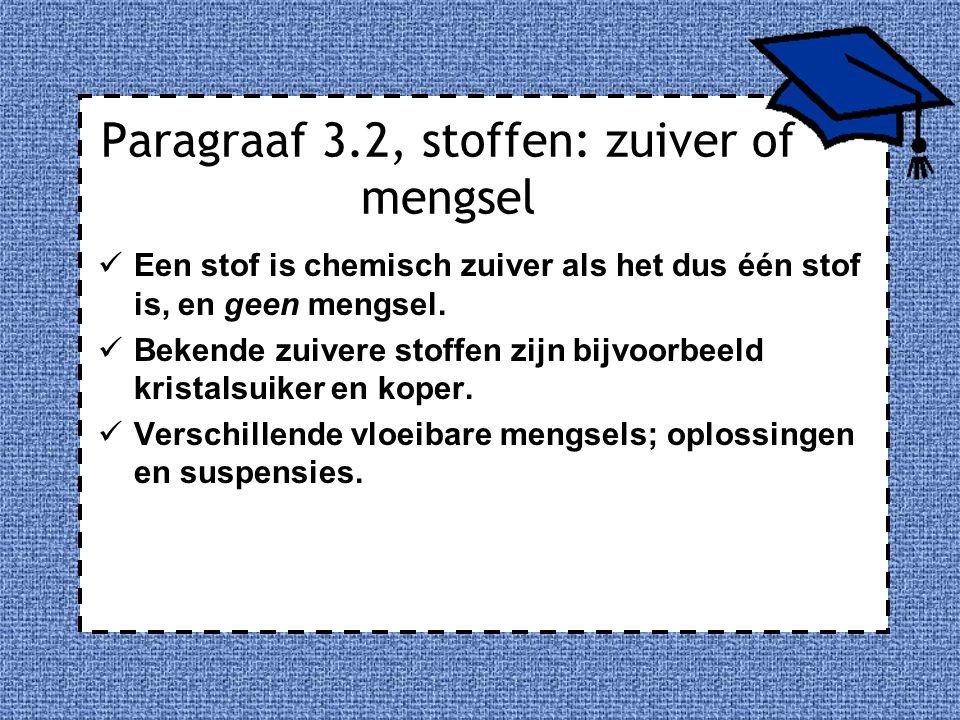 Paragraaf 3.2, stoffen: zuiver of mengsel Een stof is chemisch zuiver als het dus één stof is, en geen mengsel. Bekende zuivere stoffen zijn bijvoorbe