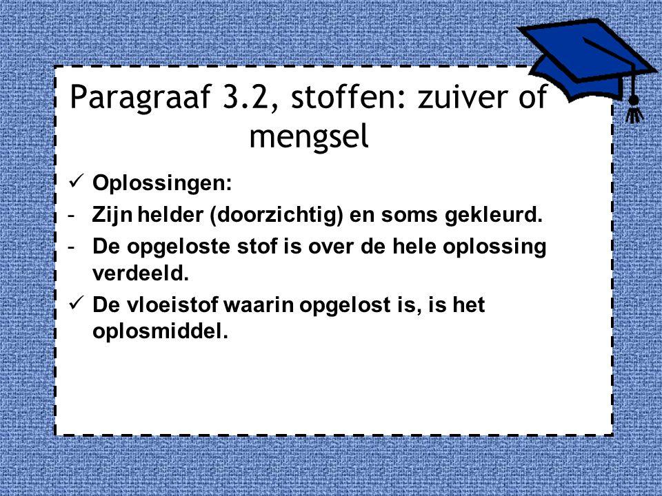 Paragraaf 3.2, stoffen: zuiver of mengsel Oplossingen: -Zijn helder (doorzichtig) en soms gekleurd. -De opgeloste stof is over de hele oplossing verde