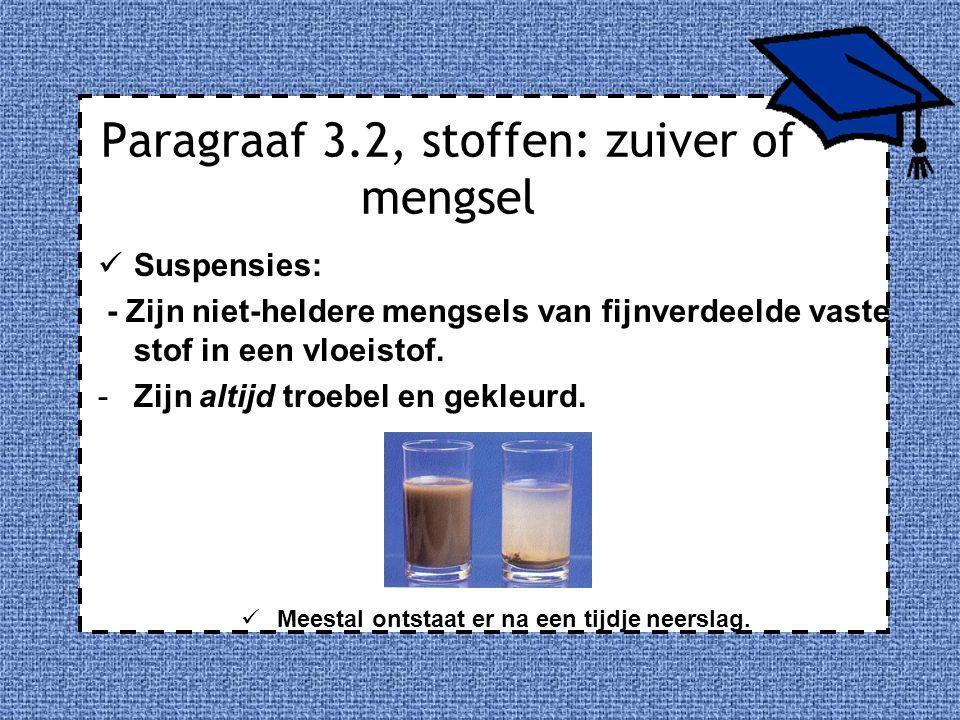 Paragraaf 3.2, stoffen: zuiver of mengsel Suspensies: - Zijn niet-heldere mengsels van fijnverdeelde vaste stof in een vloeistof. -Zijn altijd troebel