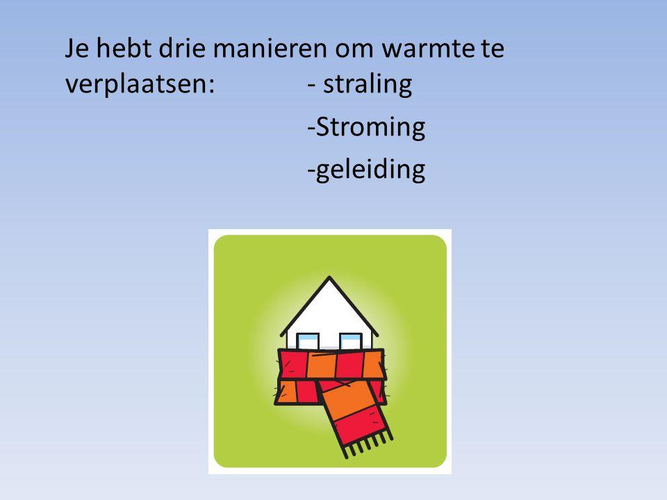 Je hebt drie manieren om warmte te verplaatsen:- straling -Stroming -geleiding