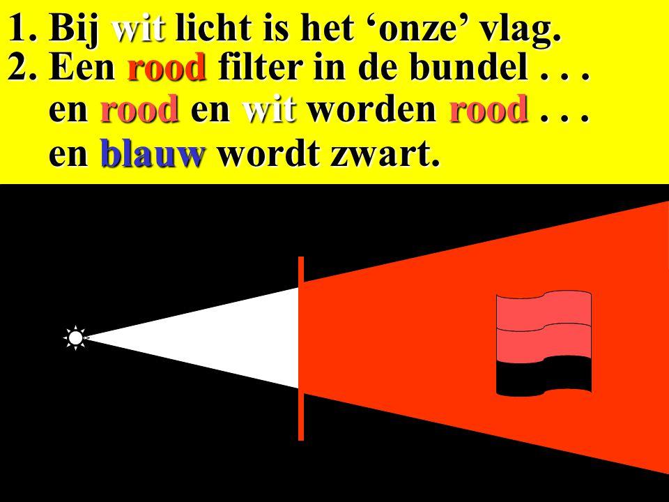 1. Bij wit licht is het 'onze' vlag. en rood wordt zwart... en rood wordt zwart... 2. Een blauw filter in de bundel... en wit en blauw worden blauw. e