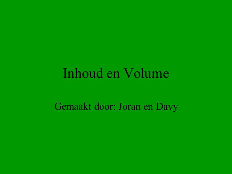 Volume Het volume V van een voorwerp geeft de hoeveelheid ruimte dat die voorwerp in beslag neemt(kortom hoe groot dat voorwerp is).