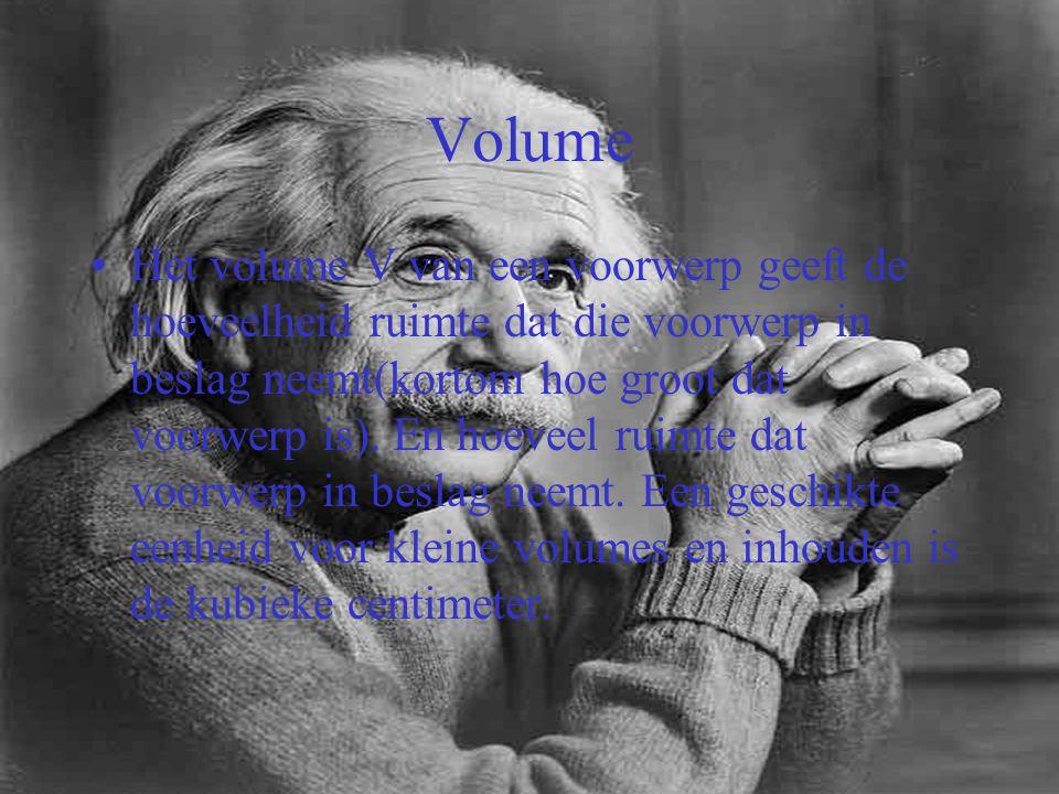 Volume Het volume V van een voorwerp geeft de hoeveelheid ruimte dat die voorwerp in beslag neemt(kortom hoe groot dat voorwerp is). En hoeveel ruimte