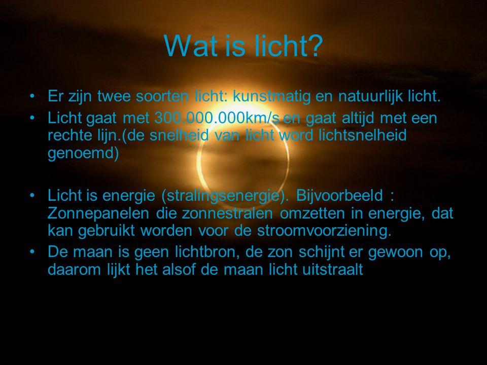 Wat is licht? Er zijn twee soorten licht: kunstmatig en natuurlijk licht. Licht gaat met 300.000.000km/s en gaat altijd met een rechte lijn.(de snelhe