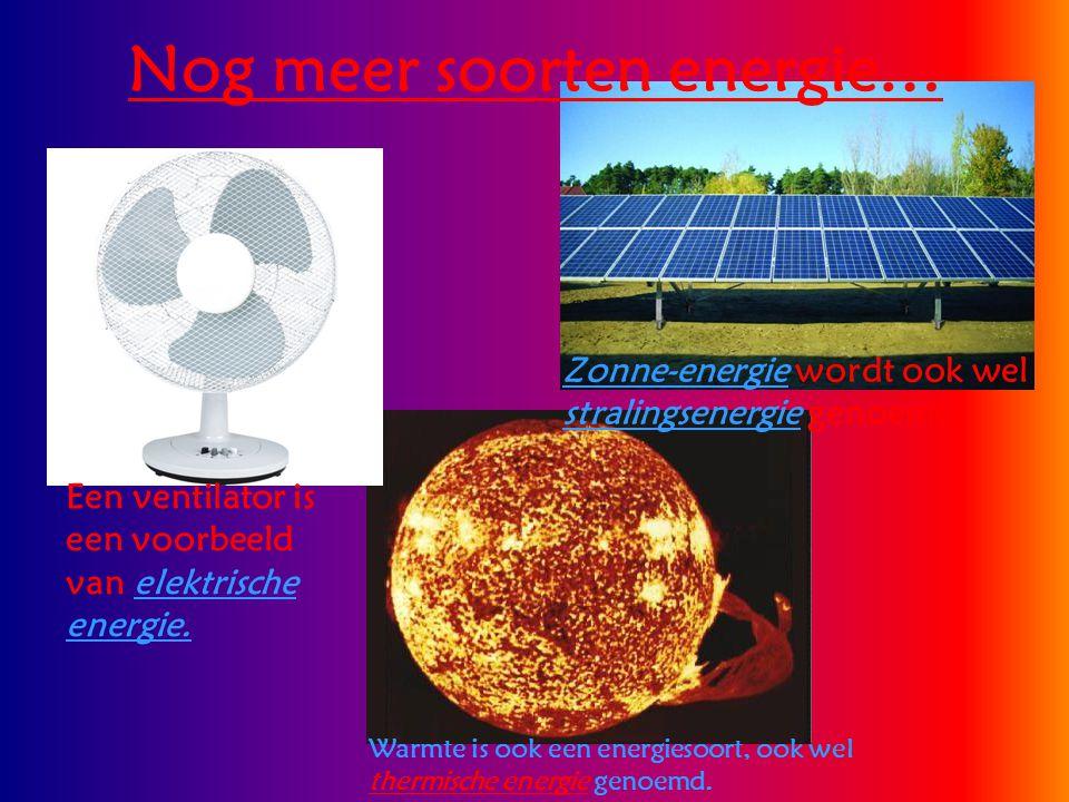 Nog meer soorten energie… Een ventilator is een voorbeeld van elektrische energie. Zonne-energie wordt ook wel stralingsenergie genoemd. Warmte is ook