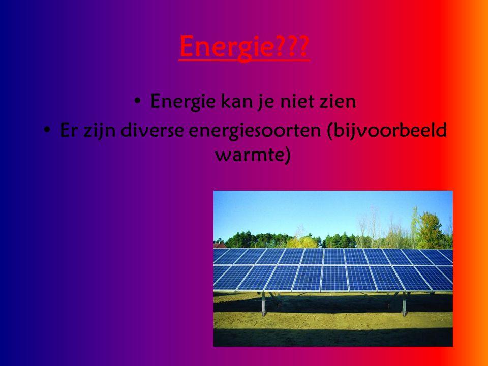Energie??? Energie kan je niet zien Er zijn diverse energiesoorten (bijvoorbeeld warmte)