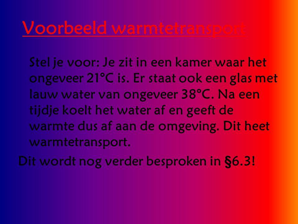Voorbeeld warmtetransport Stel je voor: Je zit in een kamer waar het ongeveer 21°C is. Er staat ook een glas met lauw water van ongeveer 38°C. Na een