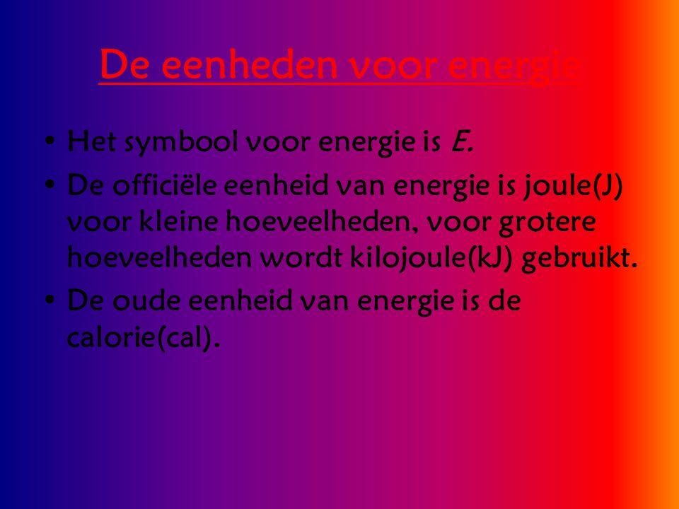 De eenheden voor energie Het symbool voor energie is E. De officiële eenheid van energie is joule(J) voor kleine hoeveelheden, voor grotere hoeveelhed
