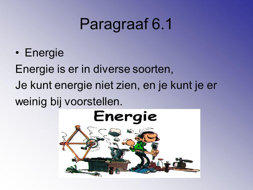 Paragraaf 6.1 Energie Energie is er in diverse soorten, Je kunt energie niet zien, en je kunt je er weinig bij voorstellen.