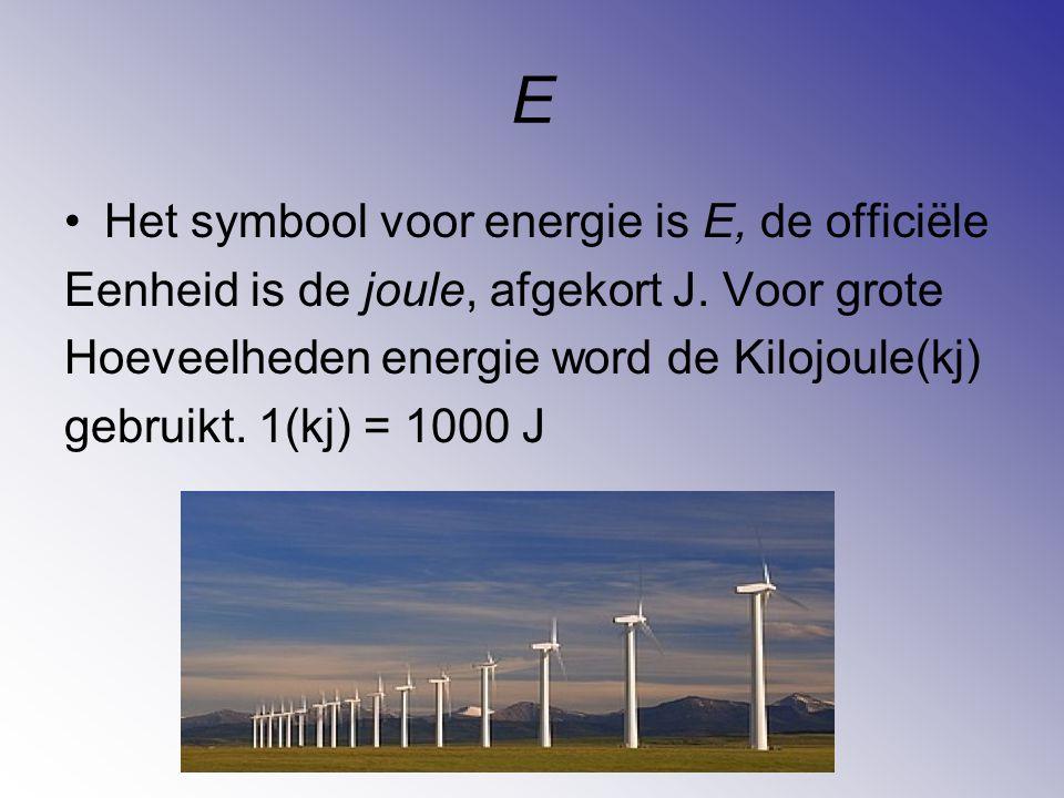 E Het symbool voor energie is E, de officiële Eenheid is de joule, afgekort J. Voor grote Hoeveelheden energie word de Kilojoule(kj) gebruikt. 1(kj) =