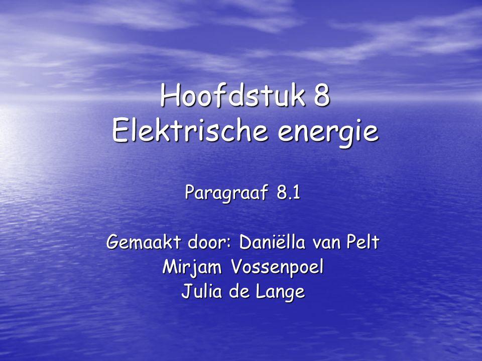 Hoofdstuk 8 Elektrische energie Paragraaf 8.1 Gemaakt door: Daniëlla van Pelt Mirjam Vossenpoel Julia de Lange
